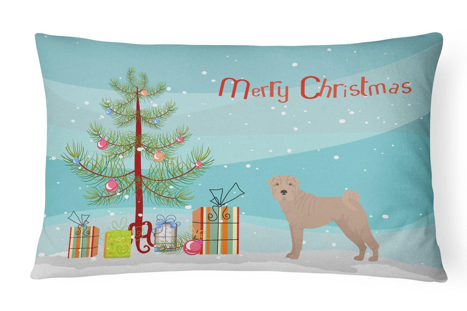 Buy this Shar Pei Christmas Tree Canvas Fabric Decorative Pillow CK3485PW1216