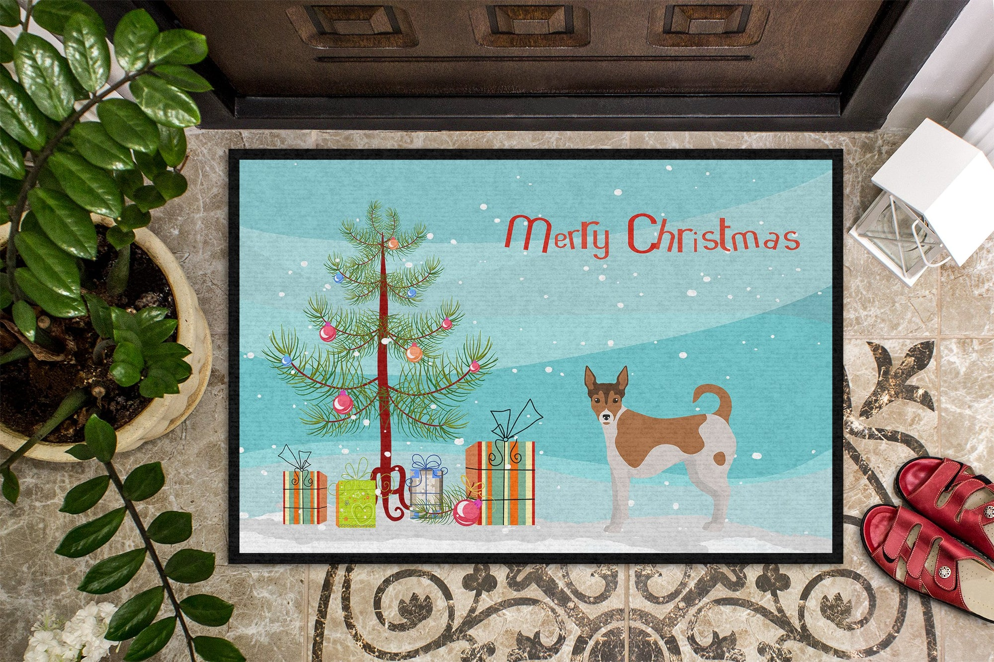 Tenterfield Terrier Christmas Tree Indoor or Outdoor Mat 24x36 CK3487JMAT by Caroline's Treasures