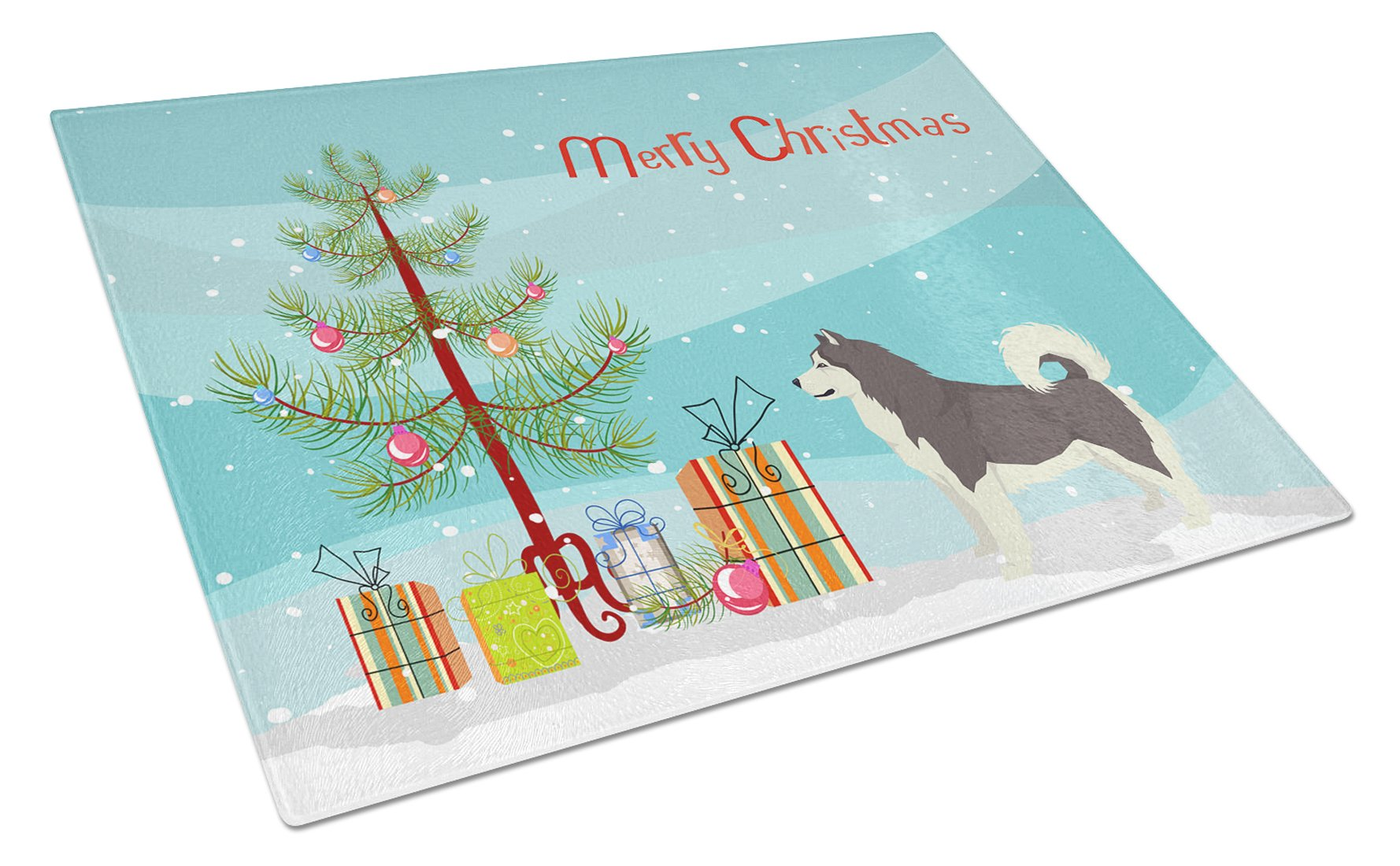 Buy this Alaskan Malamute Christmas Tree Glass Cutting Board Large CK3513LCB