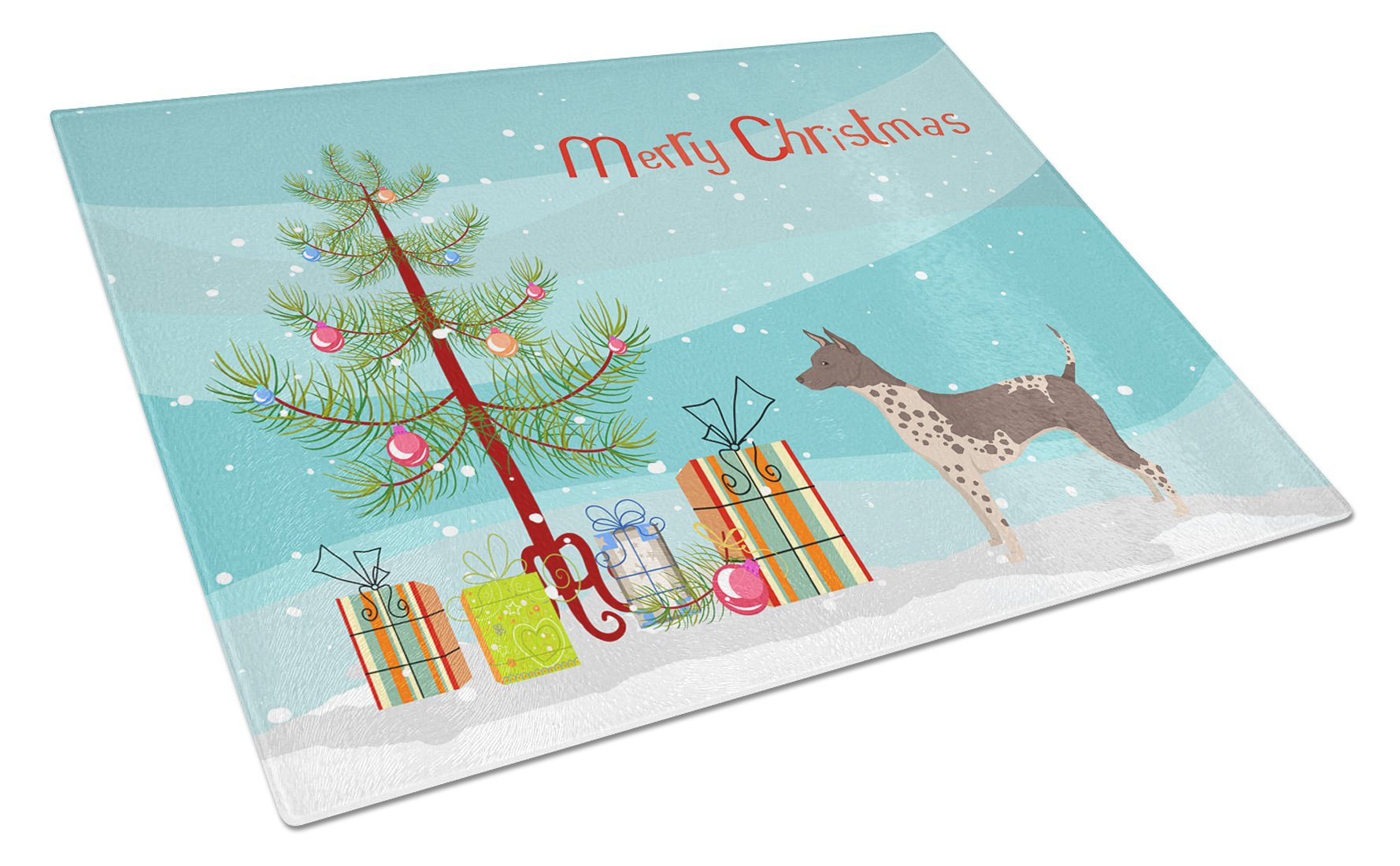 Buy this American Hairless Terrier Christmas Tree Glass Cutting Board Large CK3514LCB