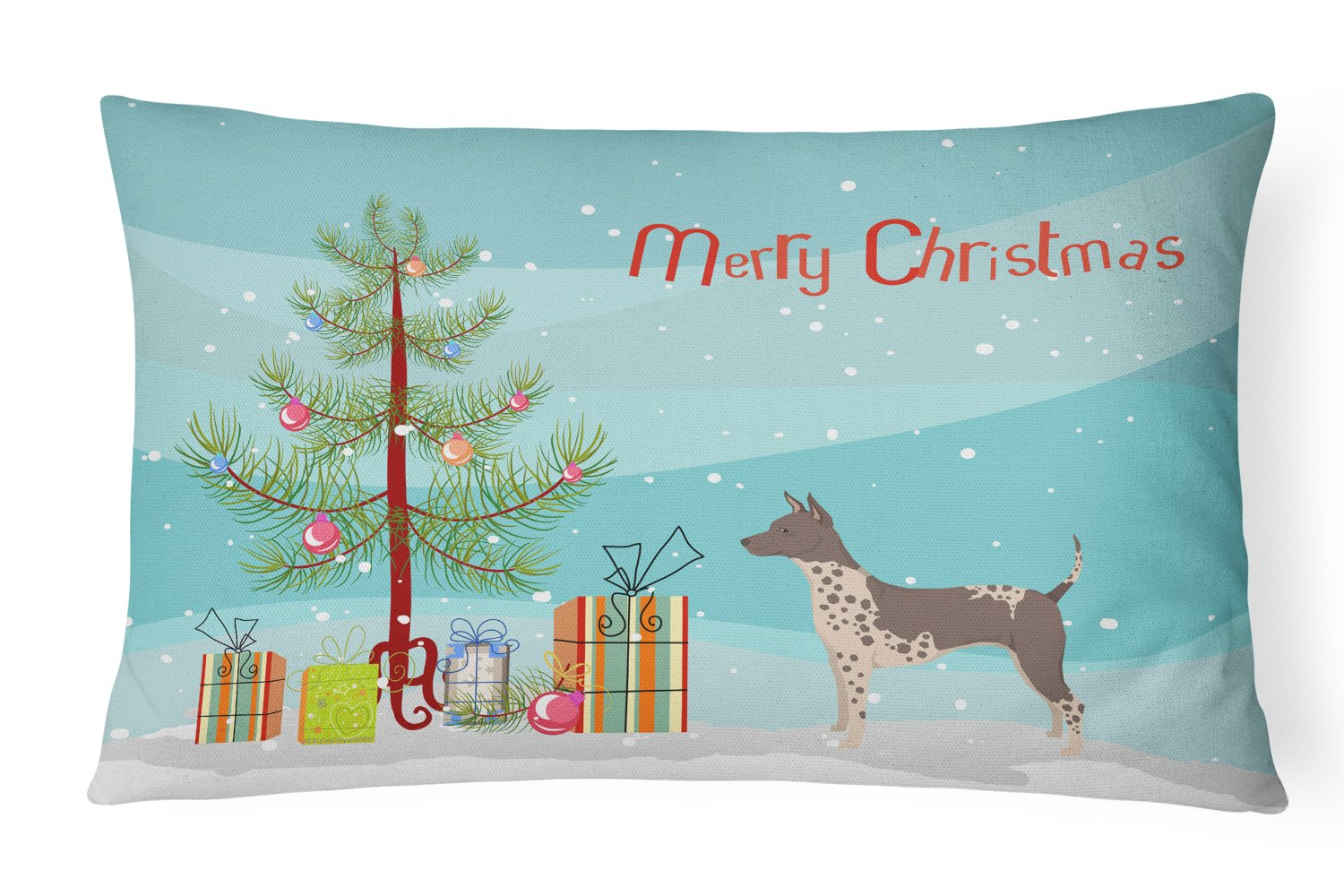 American Hairless Terrier Christmas Tree Canvas Fabric Decorative Pillow CK3514PW1216 by Caroline's Treasures