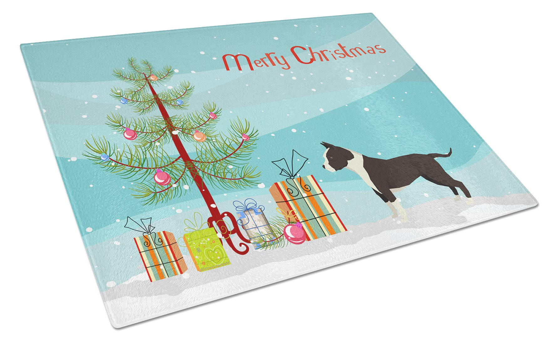 Buy this American Staffordshire Terrier Christmas Tree Glass Cutting Board Large CK3515LCB