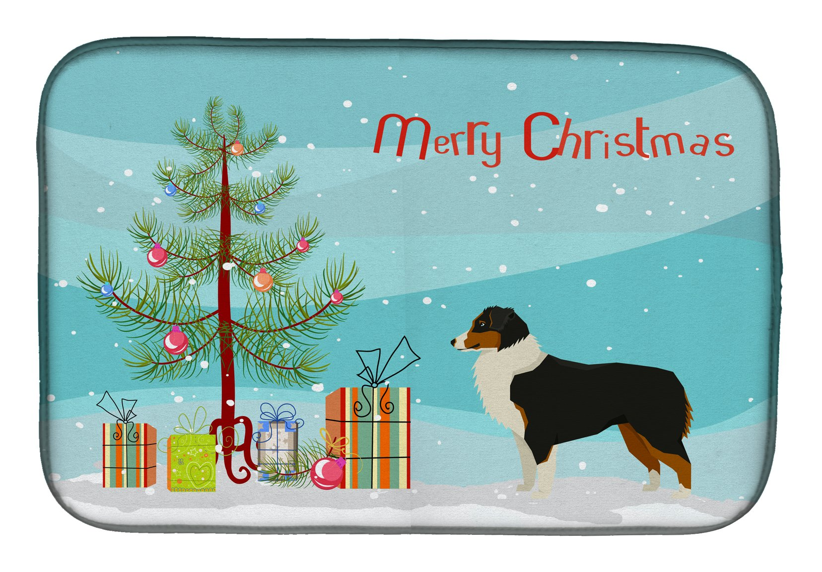 Buy this Australian Shepherd Christmas Tree Dish Drying Mat CK3516DDM
