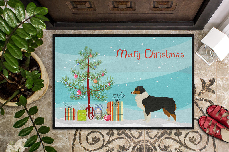 Buy this Australian Shepherd Christmas Tree Indoor or Outdoor Mat 24x36 CK3516JMAT