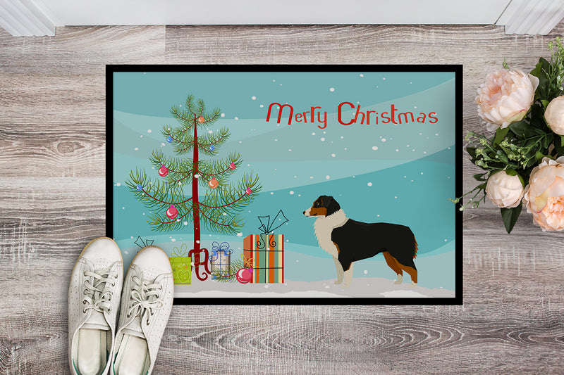 Buy this Australian Shepherd Christmas Tree Indoor or Outdoor Mat 18x27 CK3516MAT