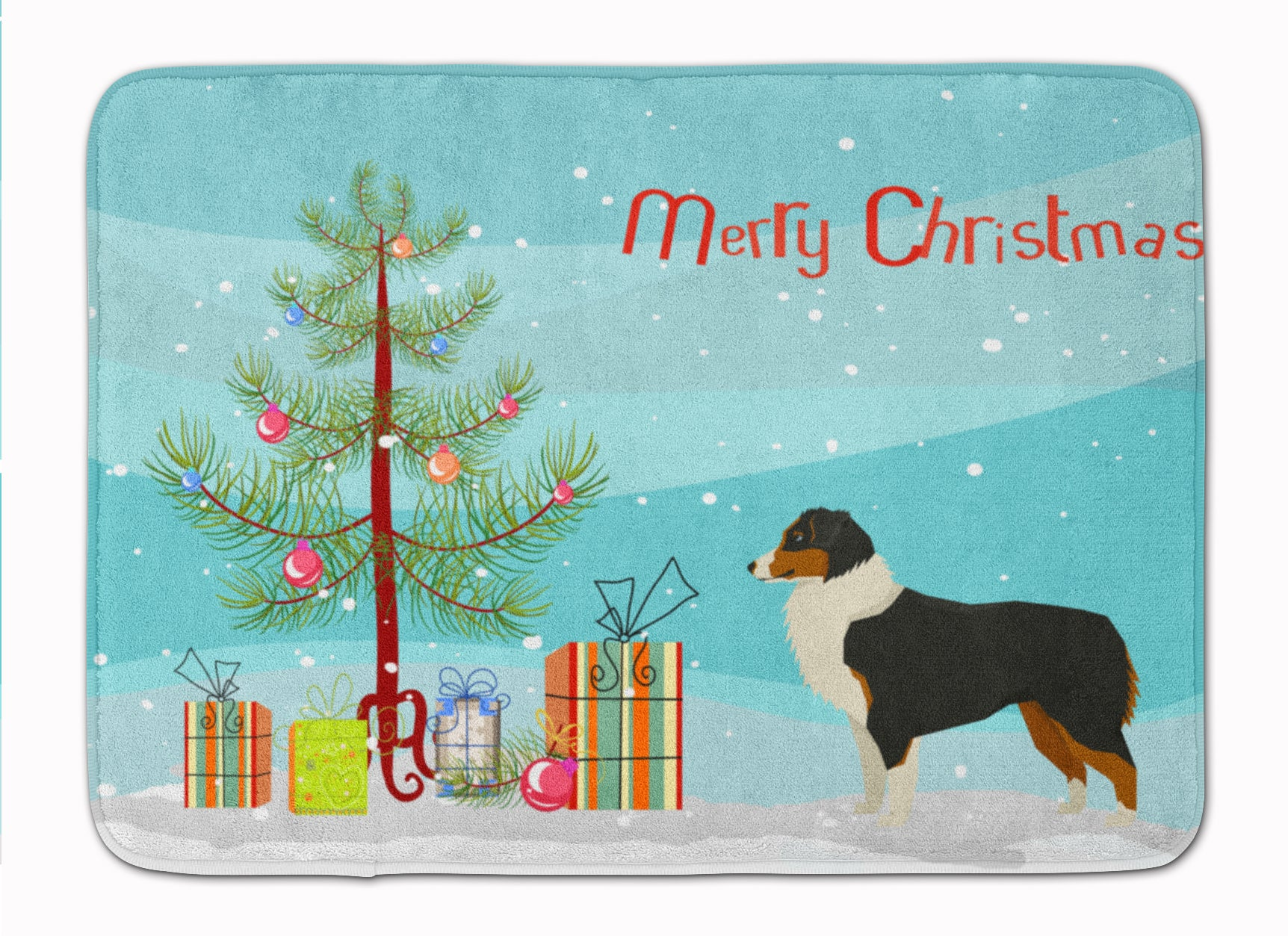 Buy this Australian Shepherd Christmas Tree Machine Washable Memory Foam Mat CK3516RUG