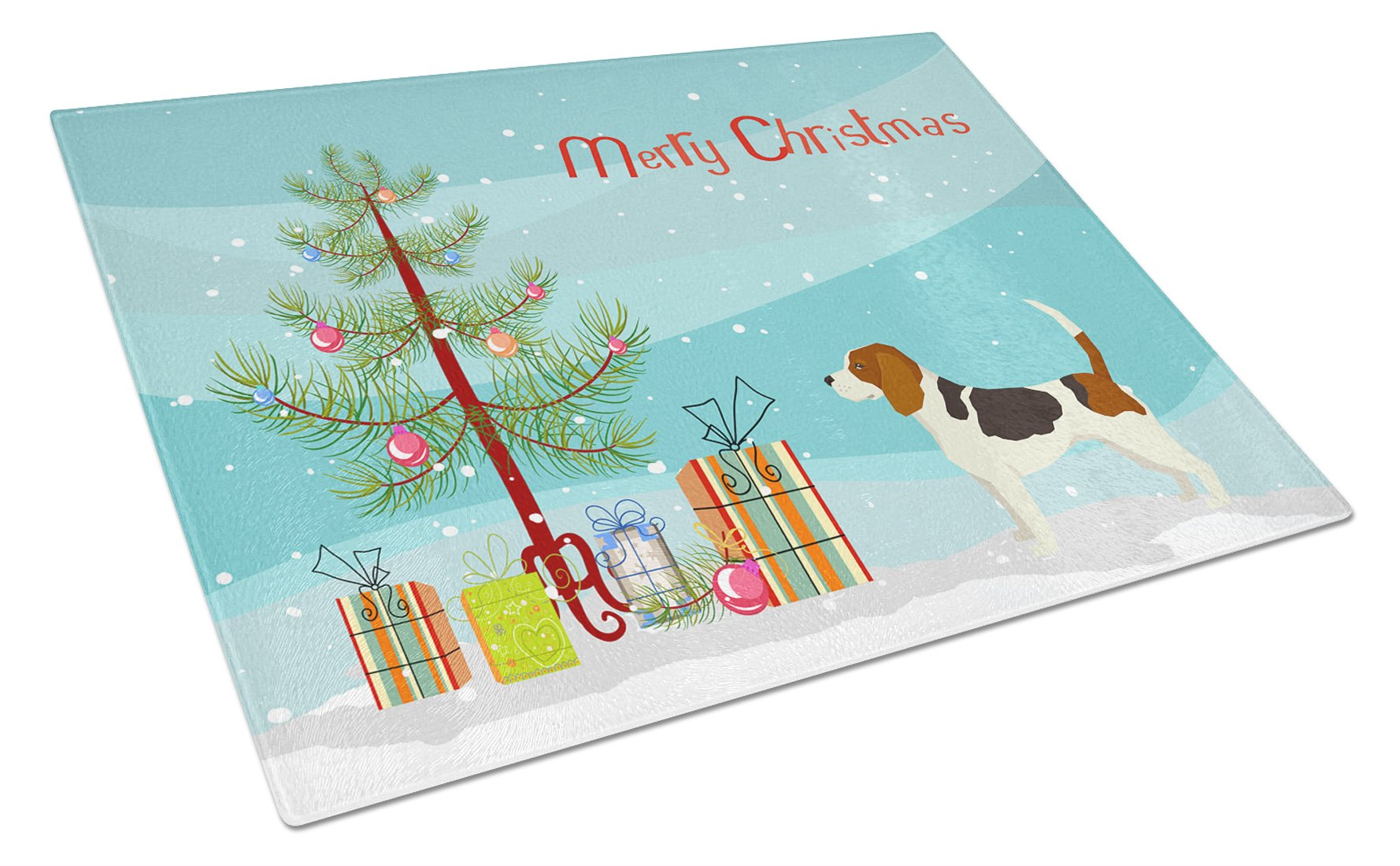 Buy this Beagle Christmas Tree Glass Cutting Board Large CK3519LCB