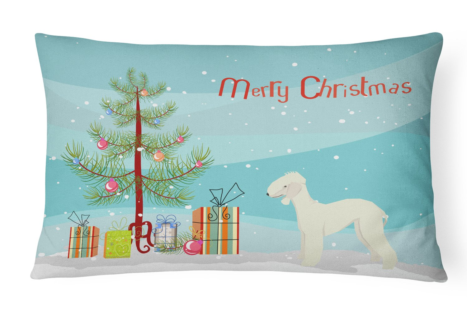 Buy this Bedlington Terrier Christmas Tree Canvas Fabric Decorative Pillow CK3520PW1216