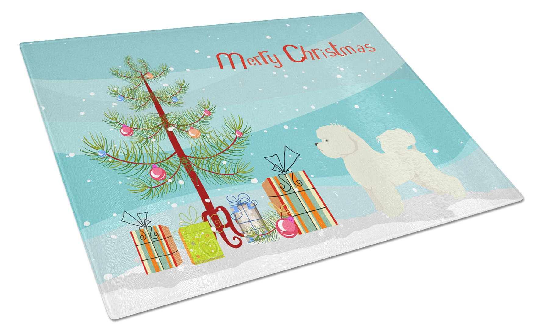 Buy this Bichon Frise Christmas Tree Glass Cutting Board Large CK3521LCB