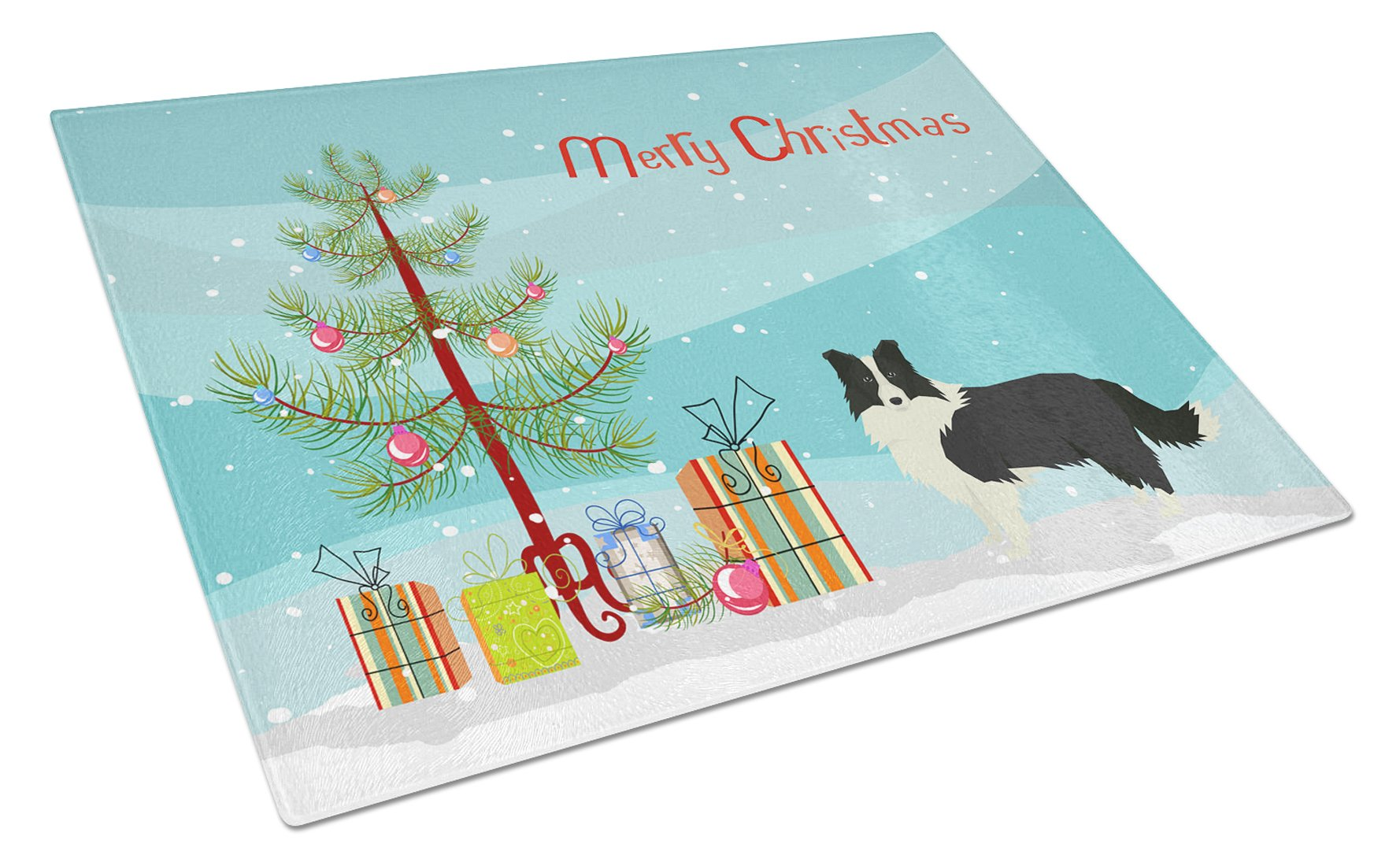 Border Collie Christmas Tree Glass Cutting Board Large CK3522LCB by Caroline's Treasures