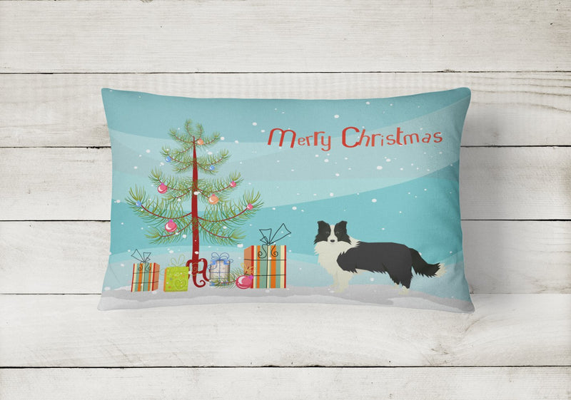 Buy this Border Collie Christmas Tree Canvas Fabric Decorative Pillow CK3522PW1216