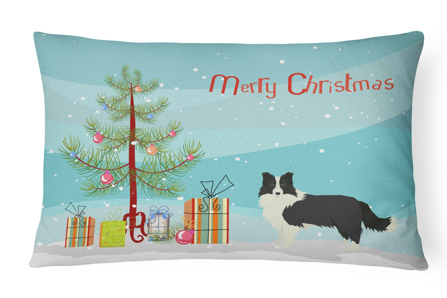 Border Collie Christmas Tree Canvas Fabric Decorative Pillow CK3522PW1216 by Caroline's Treasures