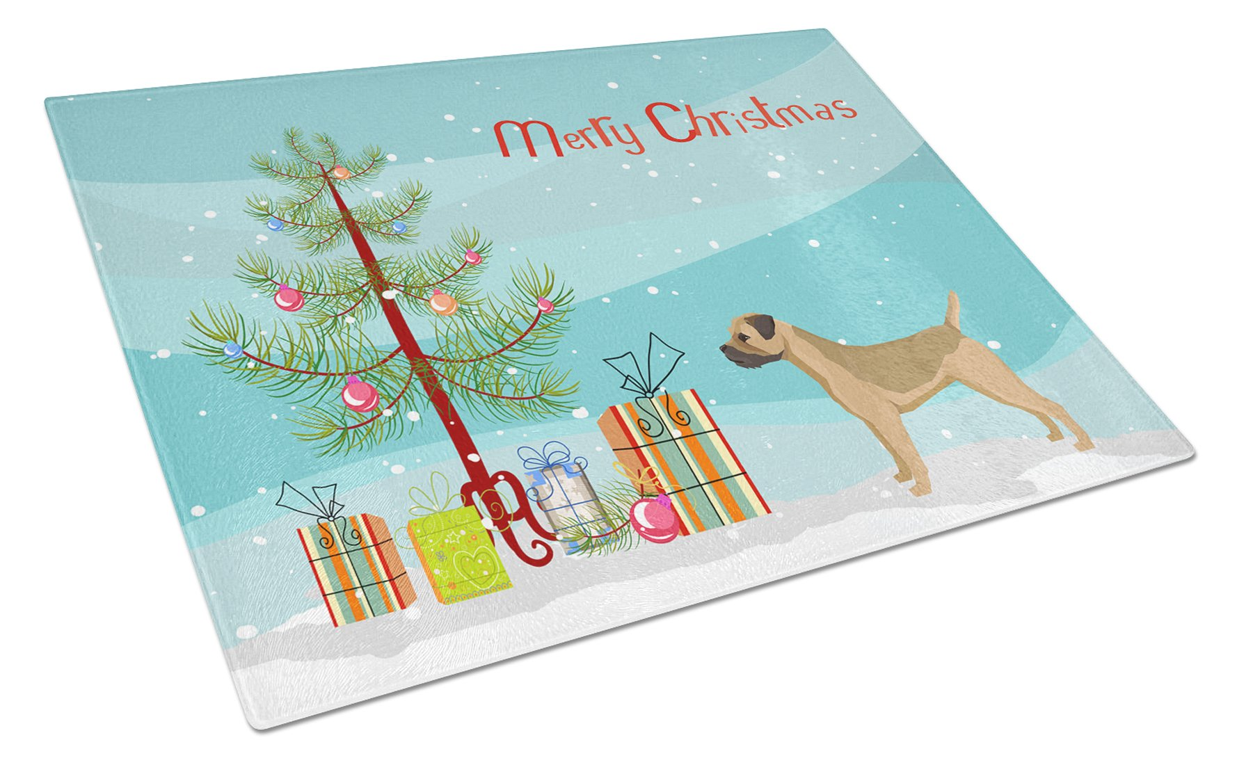 Buy this Border Terrier Christmas Tree Glass Cutting Board Large CK3523LCB
