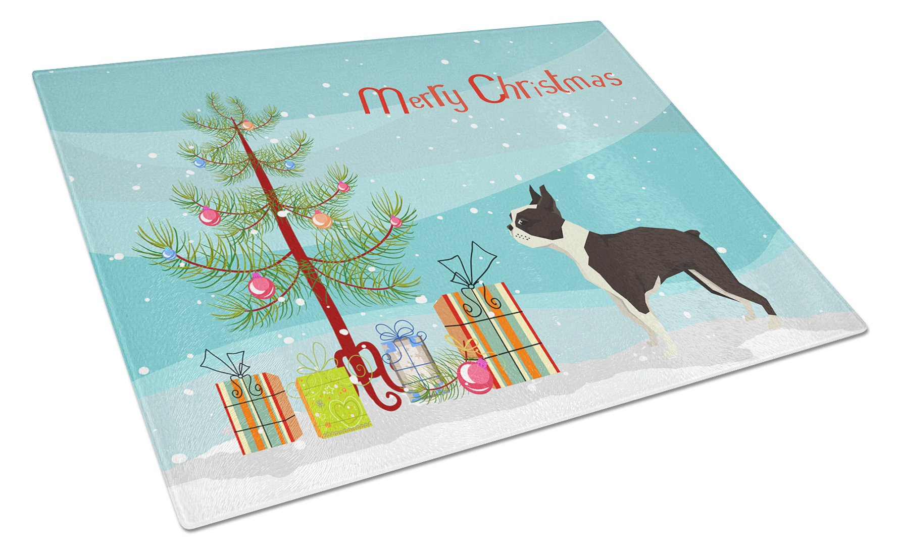Buy this Boston Terrier Christmas Tree Glass Cutting Board Large CK3525LCB