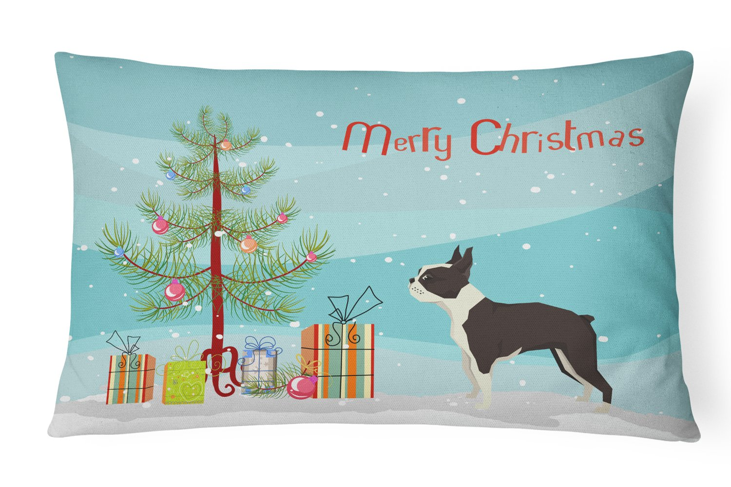 Boston Terrier Christmas Tree Canvas Fabric Decorative Pillow CK3525PW1216 by Caroline's Treasures