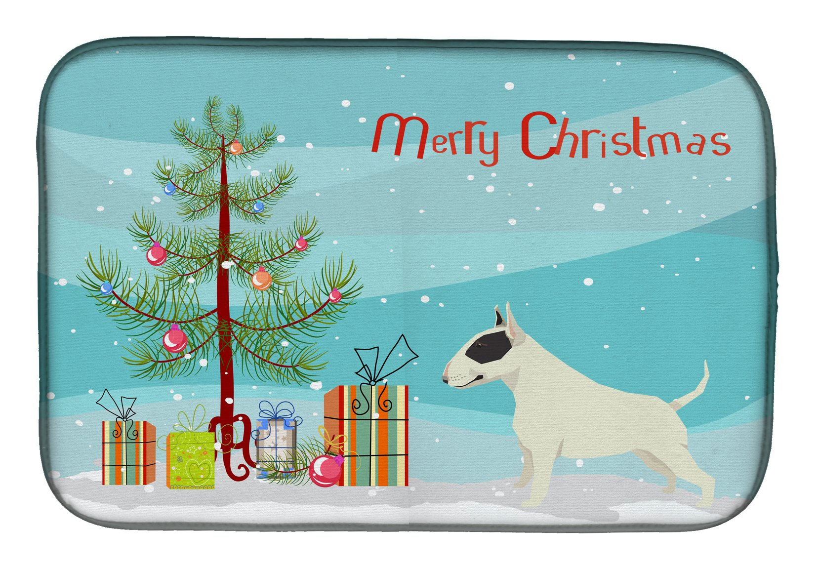 Buy this Black and White Bull Terrier Christmas Tree Dish Drying Mat CK3527DDM