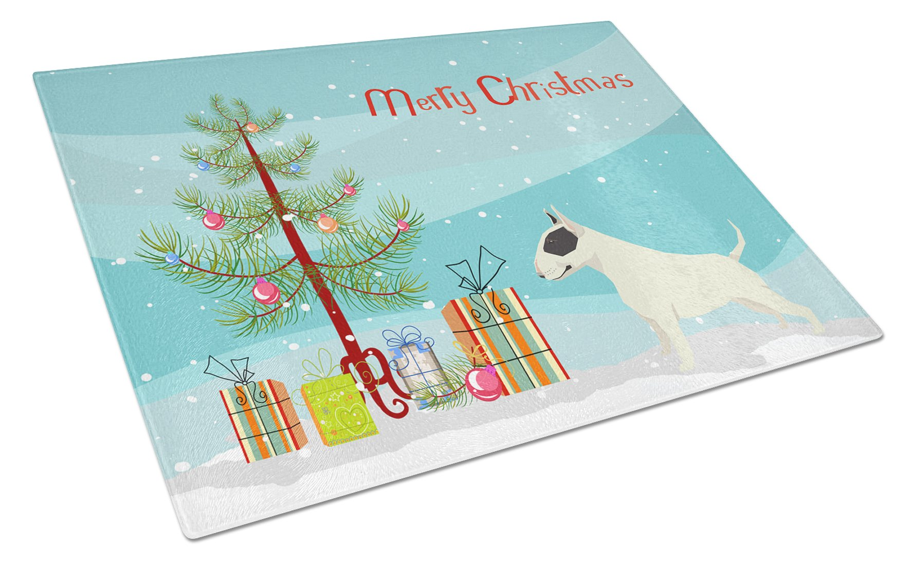 Buy this Black and White Bull Terrier Christmas Tree Glass Cutting Board Large CK3527LCB