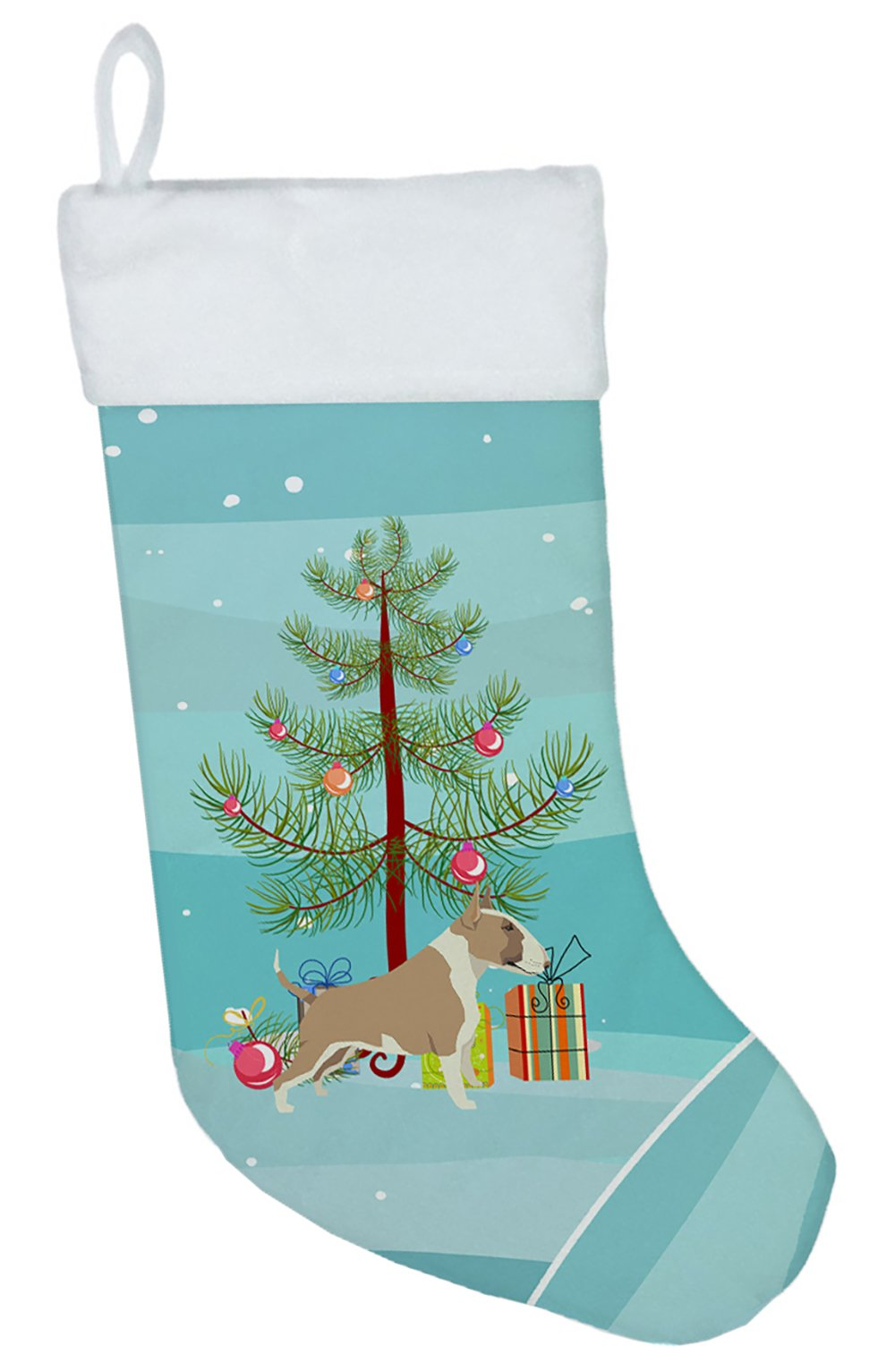Fawn and White Bull Terrier Christmas Tree Christmas Stocking CK3528CS by Caroline's Treasures