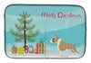 Buy this Fawn and White Bull Terrier Christmas Tree Dish Drying Mat CK3528DDM