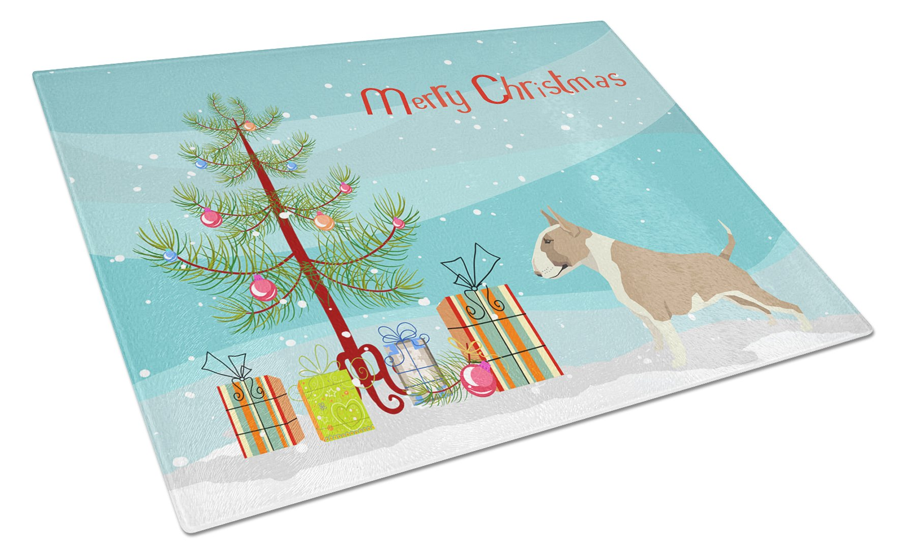Buy this Fawn and White Bull Terrier Christmas Tree Glass Cutting Board Large CK3528LCB