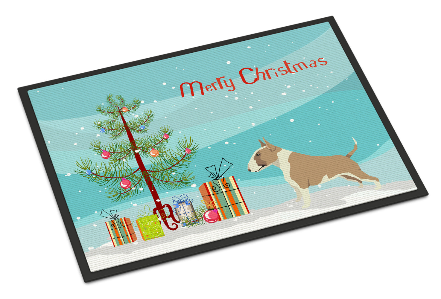 Fawn and White Bull Terrier Christmas Tree Indoor or Outdoor Mat 18x27 CK3528MAT by Caroline's Treasures