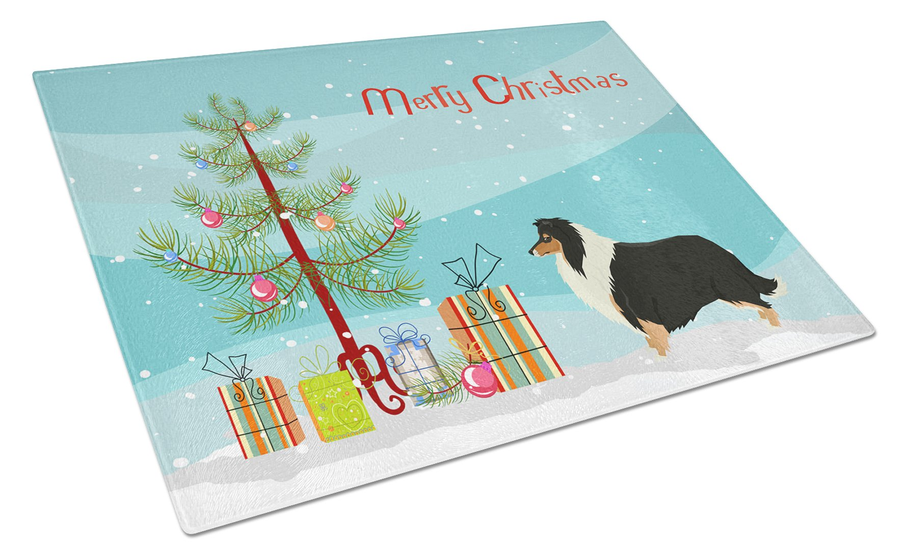 Buy this Collie Christmas Tree Glass Cutting Board Large CK3532LCB