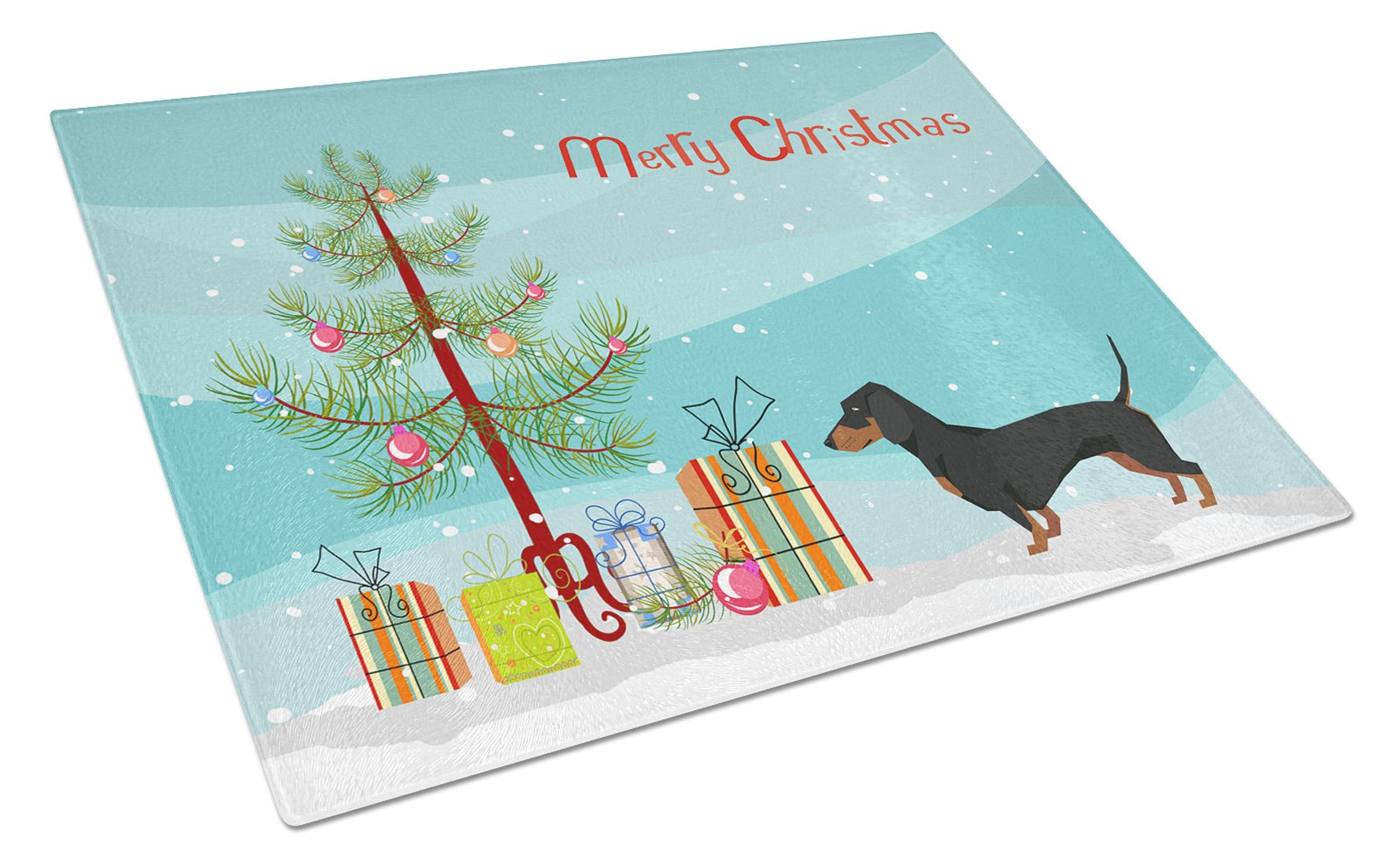 Buy this Dachshund Christmas Tree Glass Cutting Board Large CK3533LCB