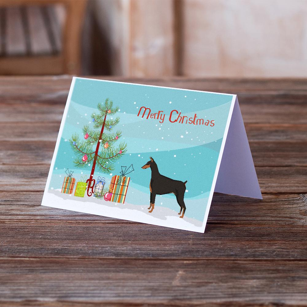 Buy this Doberman Pinscher Christmas Tree Greeting Cards and Envelopes Pack of 8