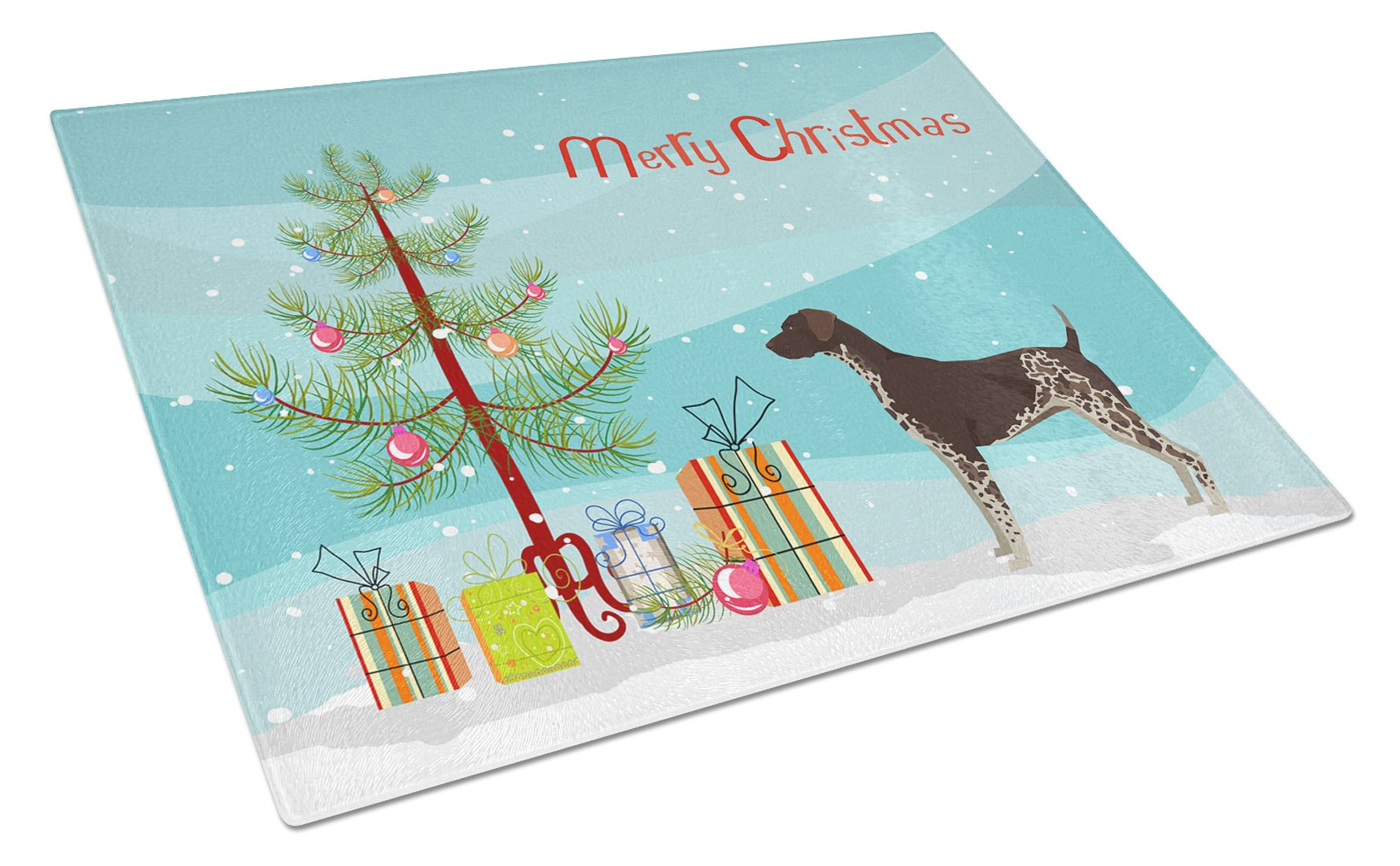 Buy this German Shorthaired Pointer Christmas Tree Glass Cutting Board Large CK3541LCB