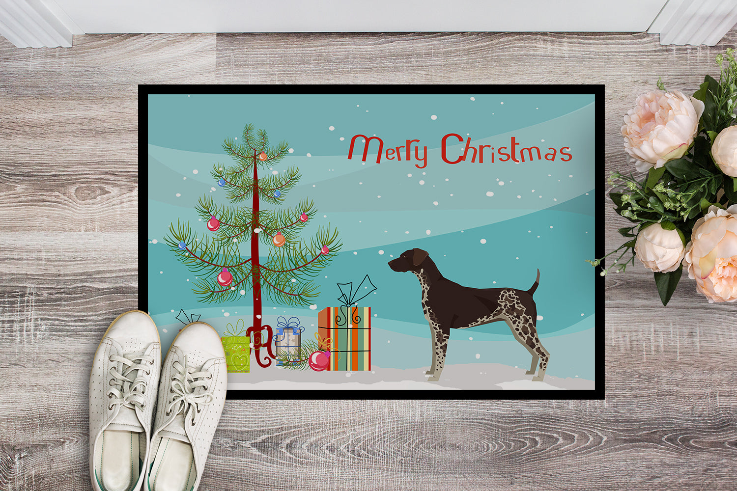 German Shorthaired Pointer Christmas Tree Indoor or Outdoor Mat 18x27 CK3541MAT by Caroline's Treasures