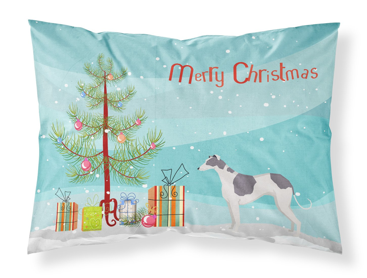 Buy this Greyhound Christmas Tree Fabric Standard Pillowcase CK3543PILLOWCASE