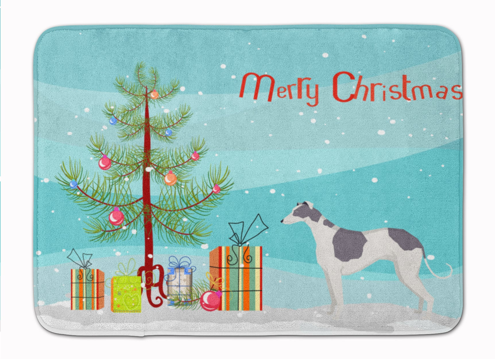 Buy this Greyhound Christmas Tree Machine Washable Memory Foam Mat CK3543RUG