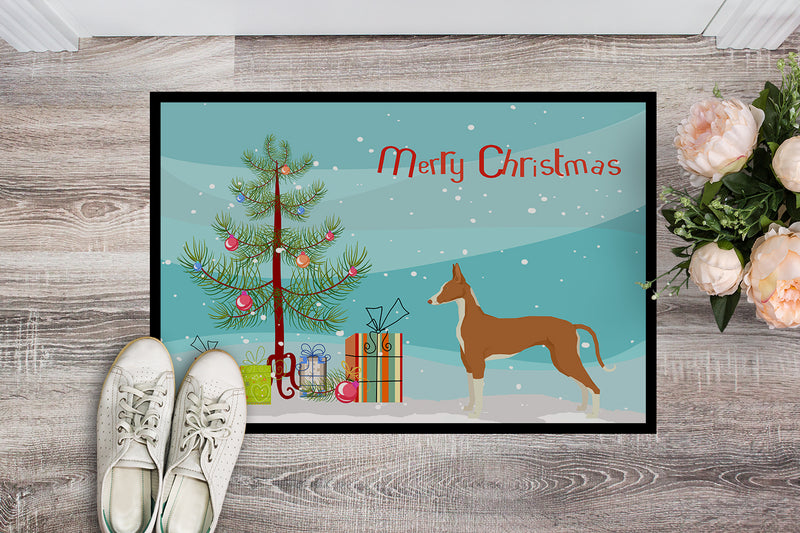 Buy this Ibizan Hound Christmas Tree Indoor or Outdoor Mat 18x27 CK3545MAT