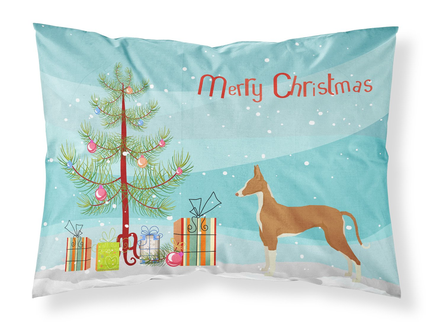 Buy this Ibizan Hound Christmas Tree Fabric Standard Pillowcase CK3545PILLOWCASE
