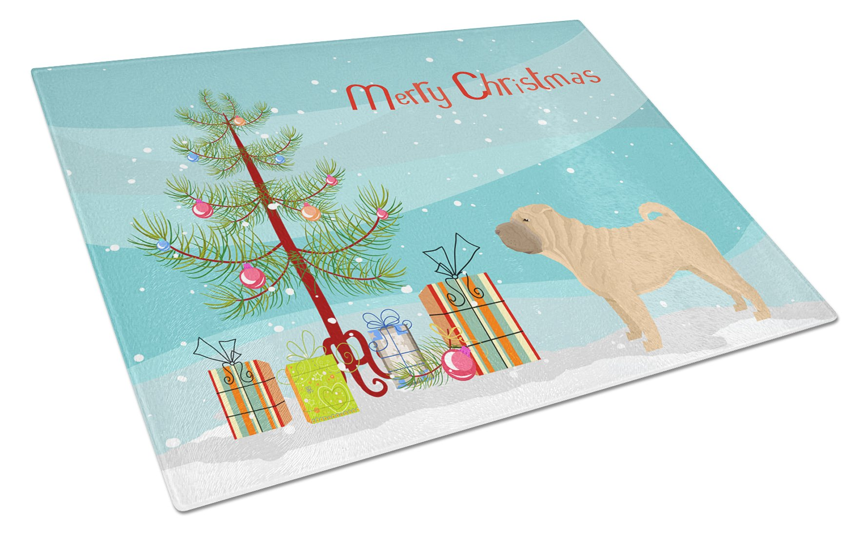 Shar Pei Christmas Tree Glass Cutting Board Large CK3562LCB by Caroline's Treasures