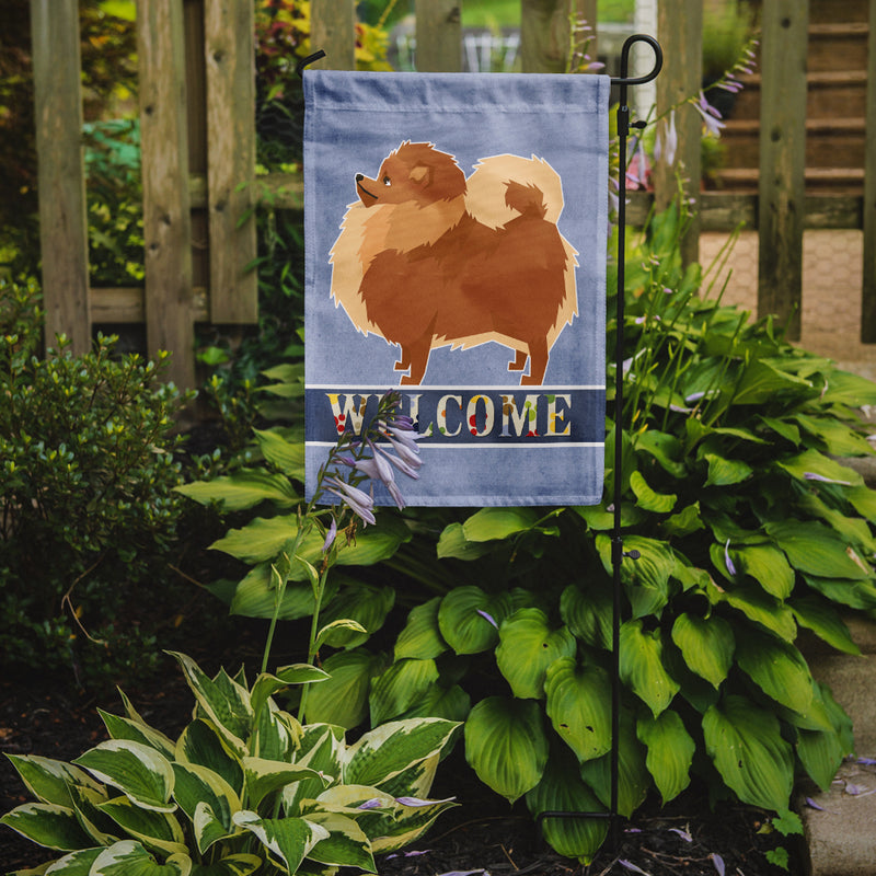 Buy this Pomeranian Welcome Flag Garden Size CK3614GF
