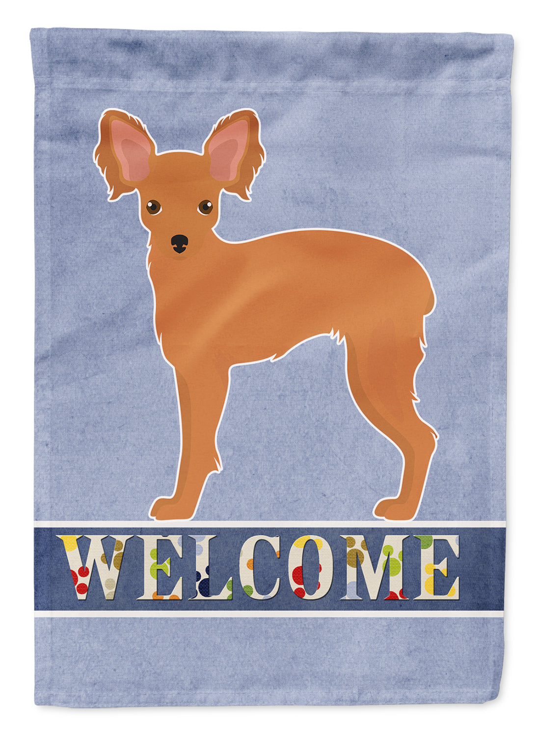 Russkiy Toy or Russian Toy Terrier Welcome Flag Canvas House Size CK3676CHF by Caroline's Treasures