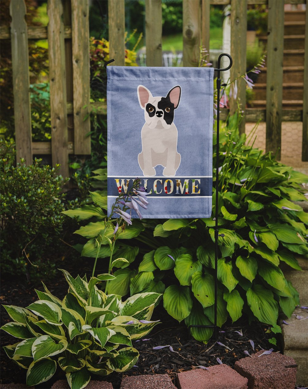 Black and White French Bulldog Welcome Flag Garden Size CK3692GF by Caroline's Treasures