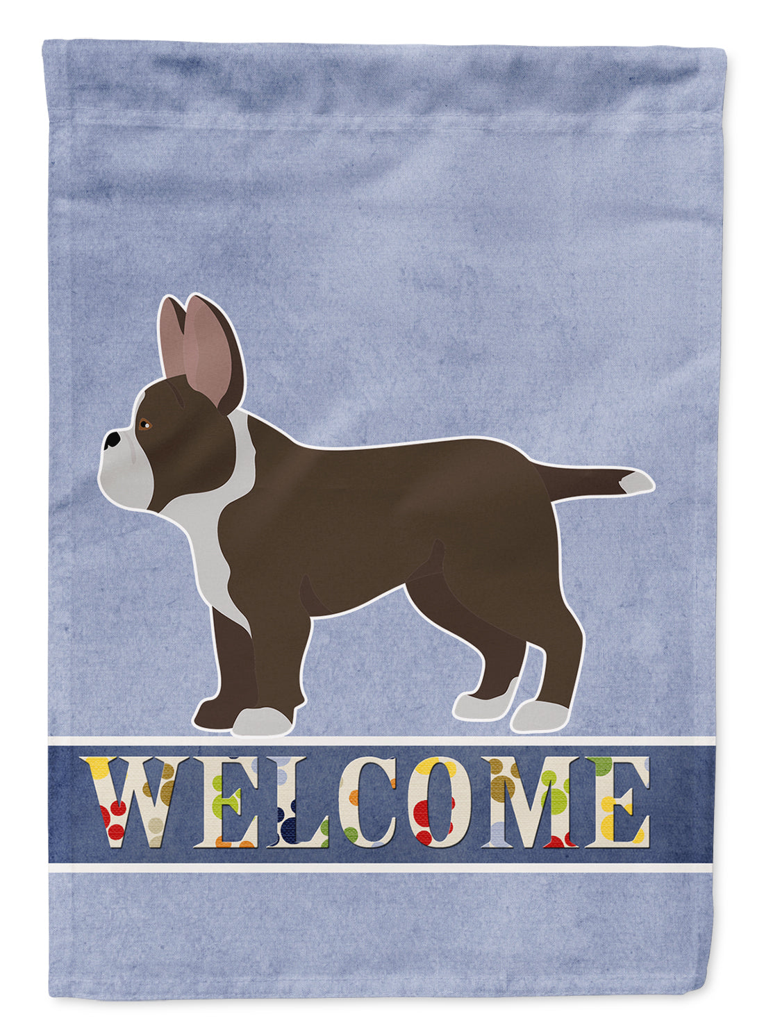 Black French Bulldog Pit Bull Mix Welcome Flag Canvas House Size CK3735CHF by Caroline's Treasures