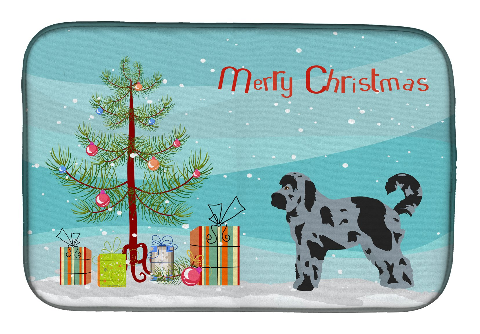 Aussiedoodle #2 Christmas Tree Dish Drying Mat CK3801DDM by Caroline's Treasures