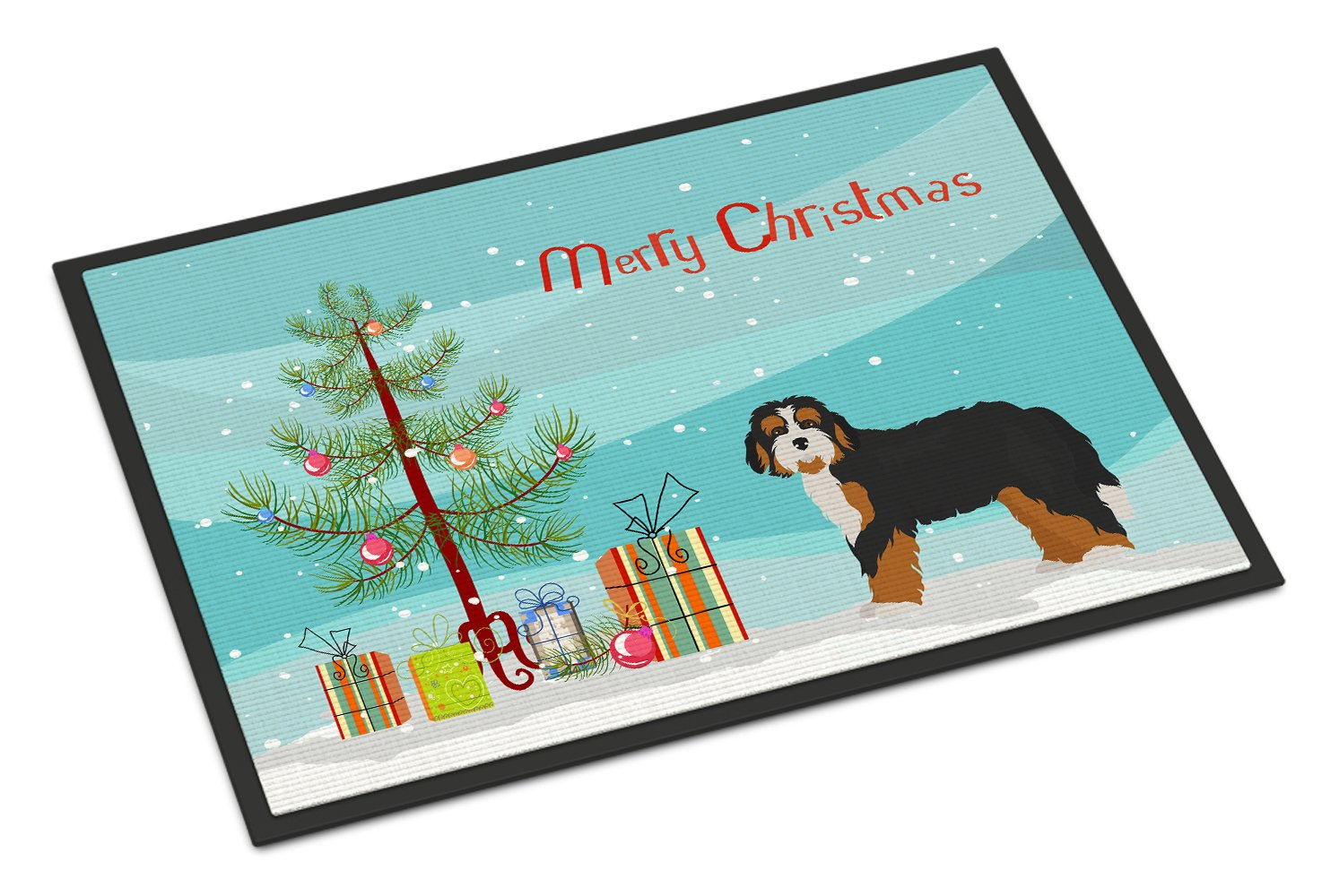 Bernedoodle Christmas Tree Indoor or Outdoor Mat 24x36 CK3804JMAT by Caroline's Treasures