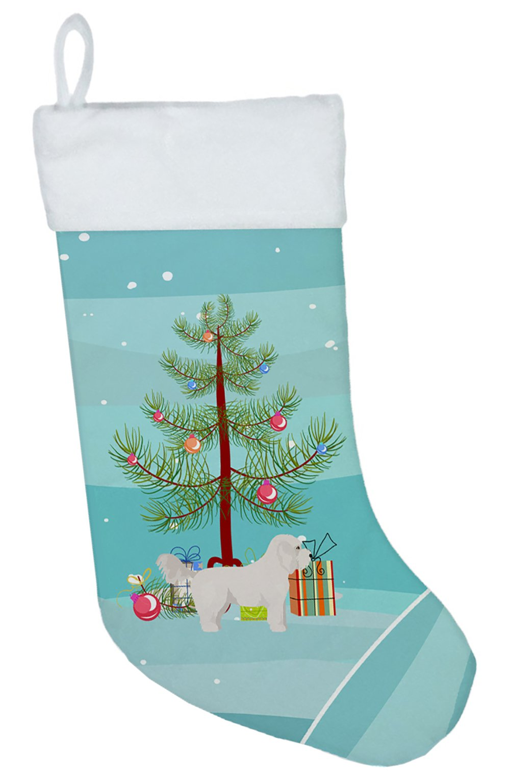 Bichpoo White Christmas Tree Christmas Stocking CK3805CS by Caroline's Treasures