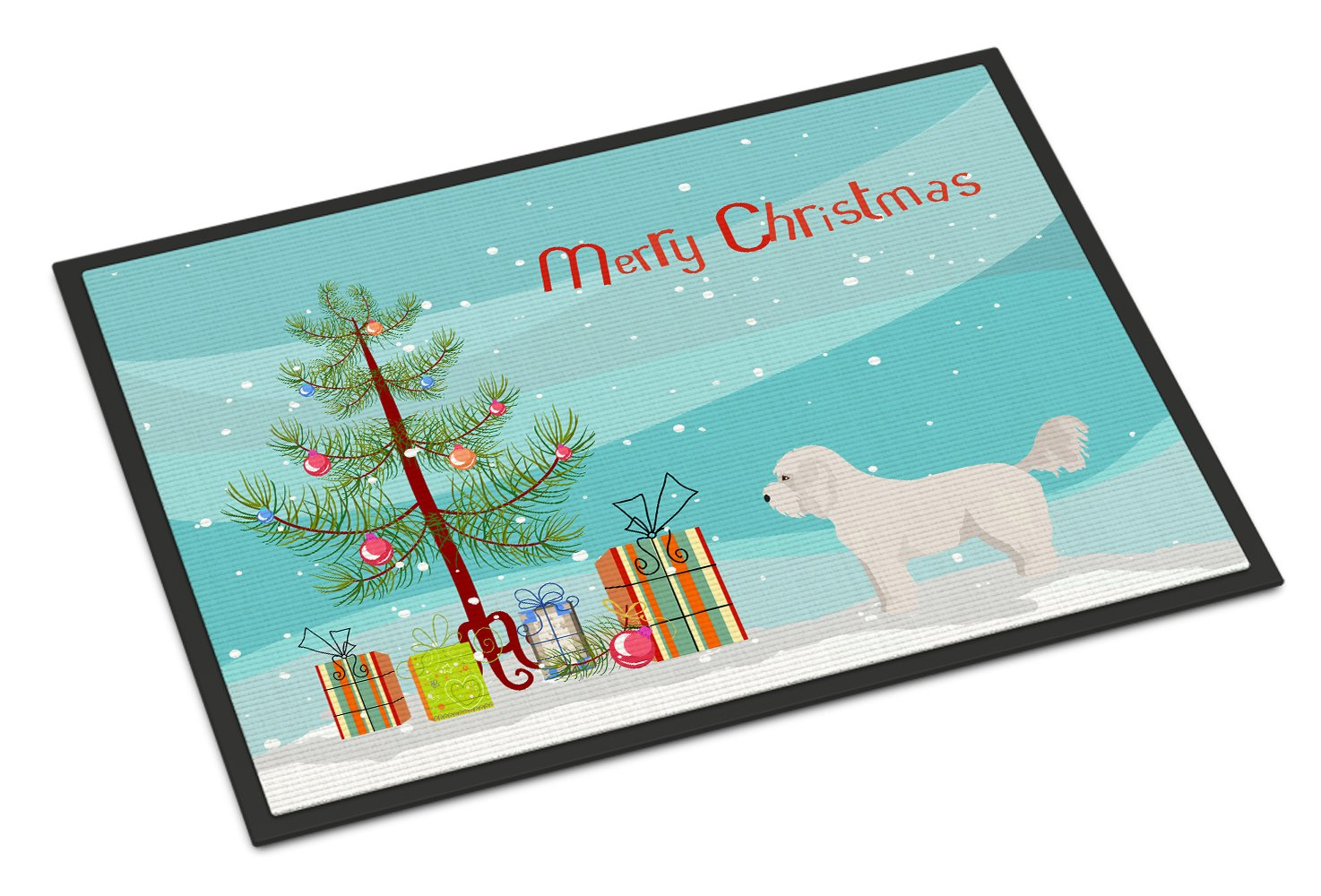 Bichpoo White Christmas Tree Indoor or Outdoor Mat 24x36 CK3805JMAT by Caroline's Treasures