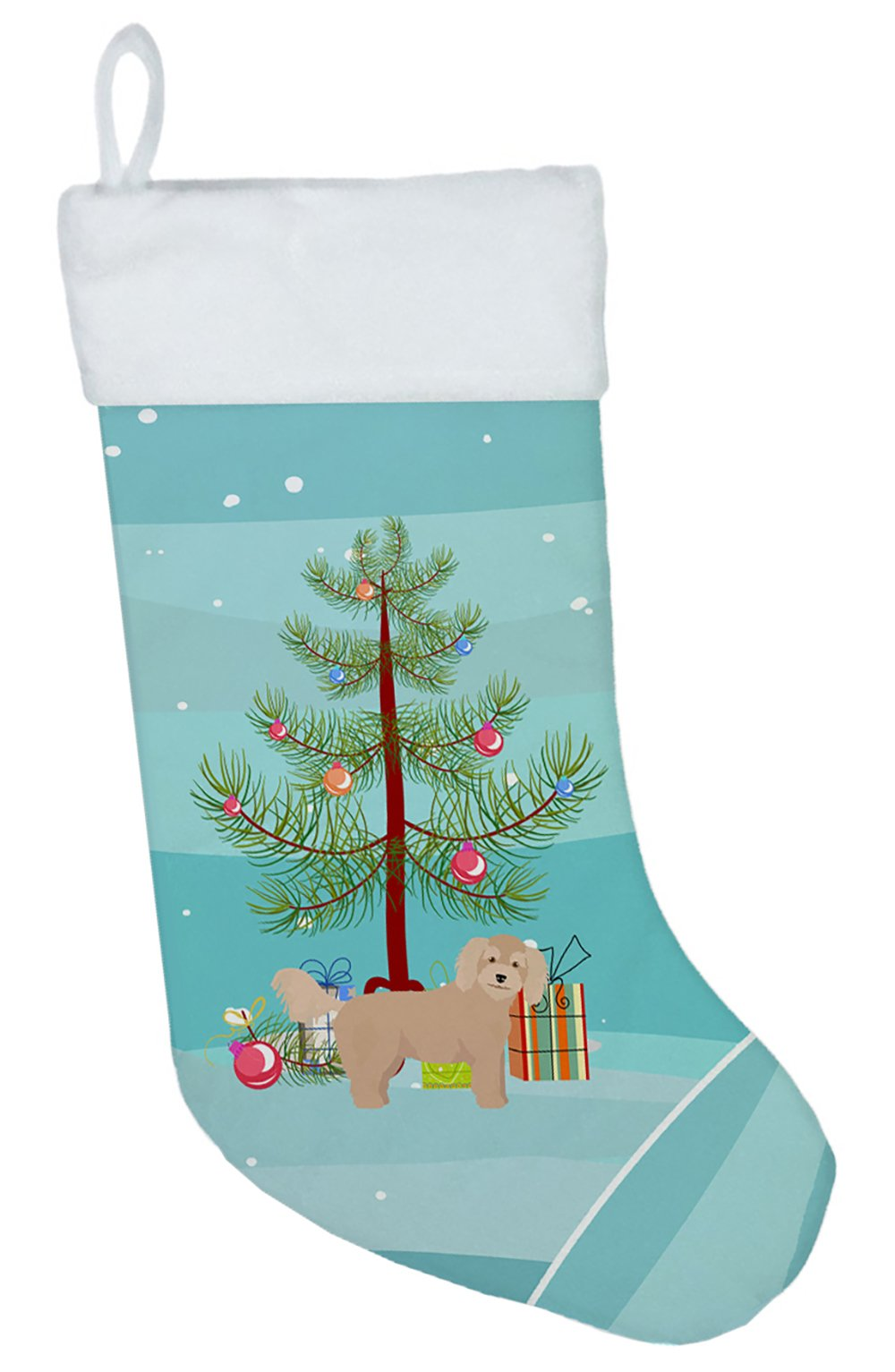 Bichpoo Christmas Tree Christmas Stocking CK3806CS by Caroline's Treasures