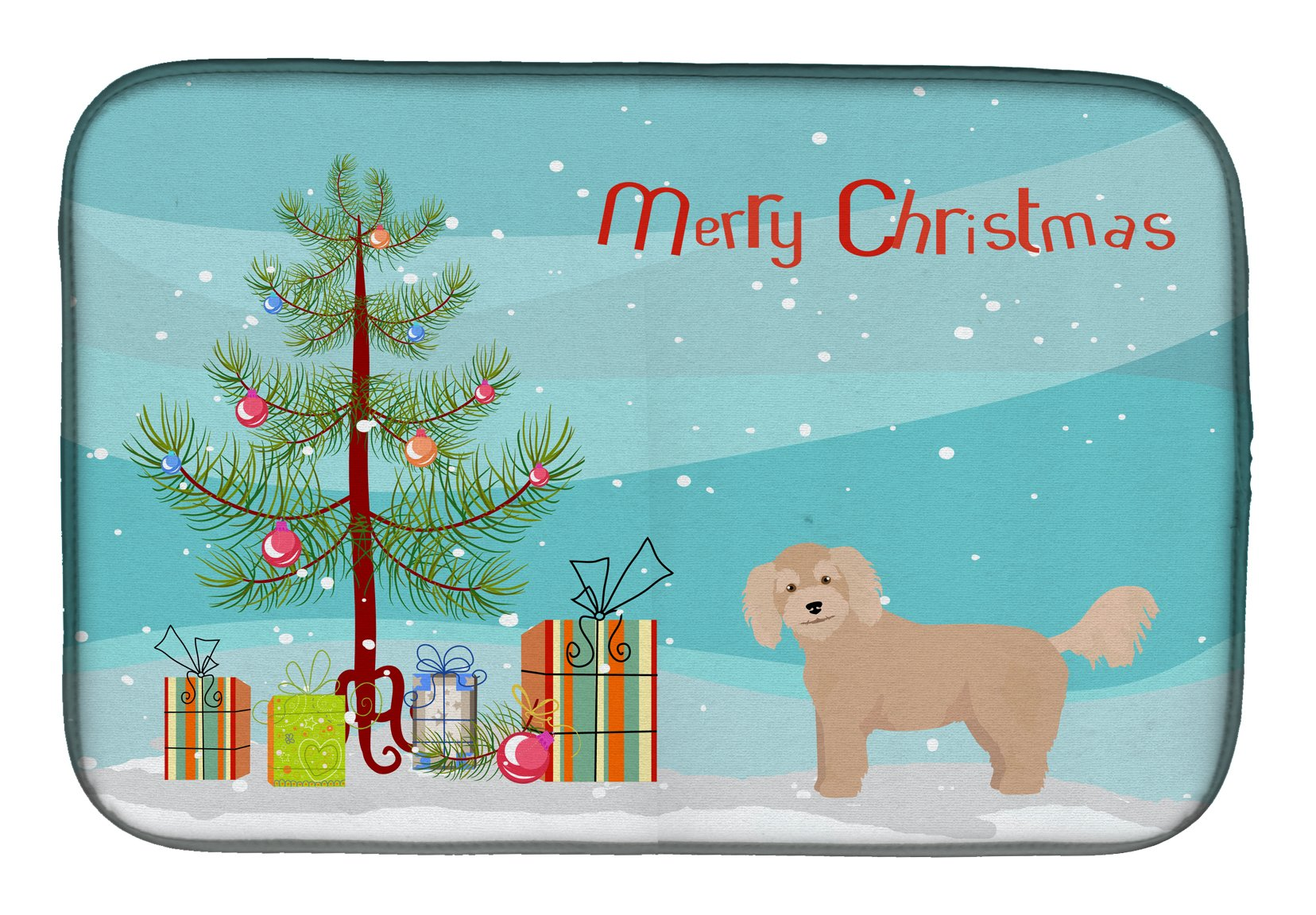 Bichpoo Christmas Tree Dish Drying Mat CK3806DDM by Caroline's Treasures