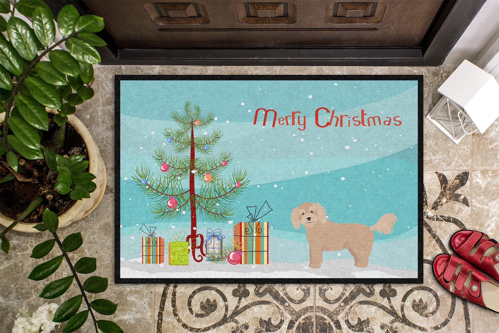 Bichpoo Christmas Tree Indoor or Outdoor Mat 24x36 CK3806JMAT by Caroline's Treasures