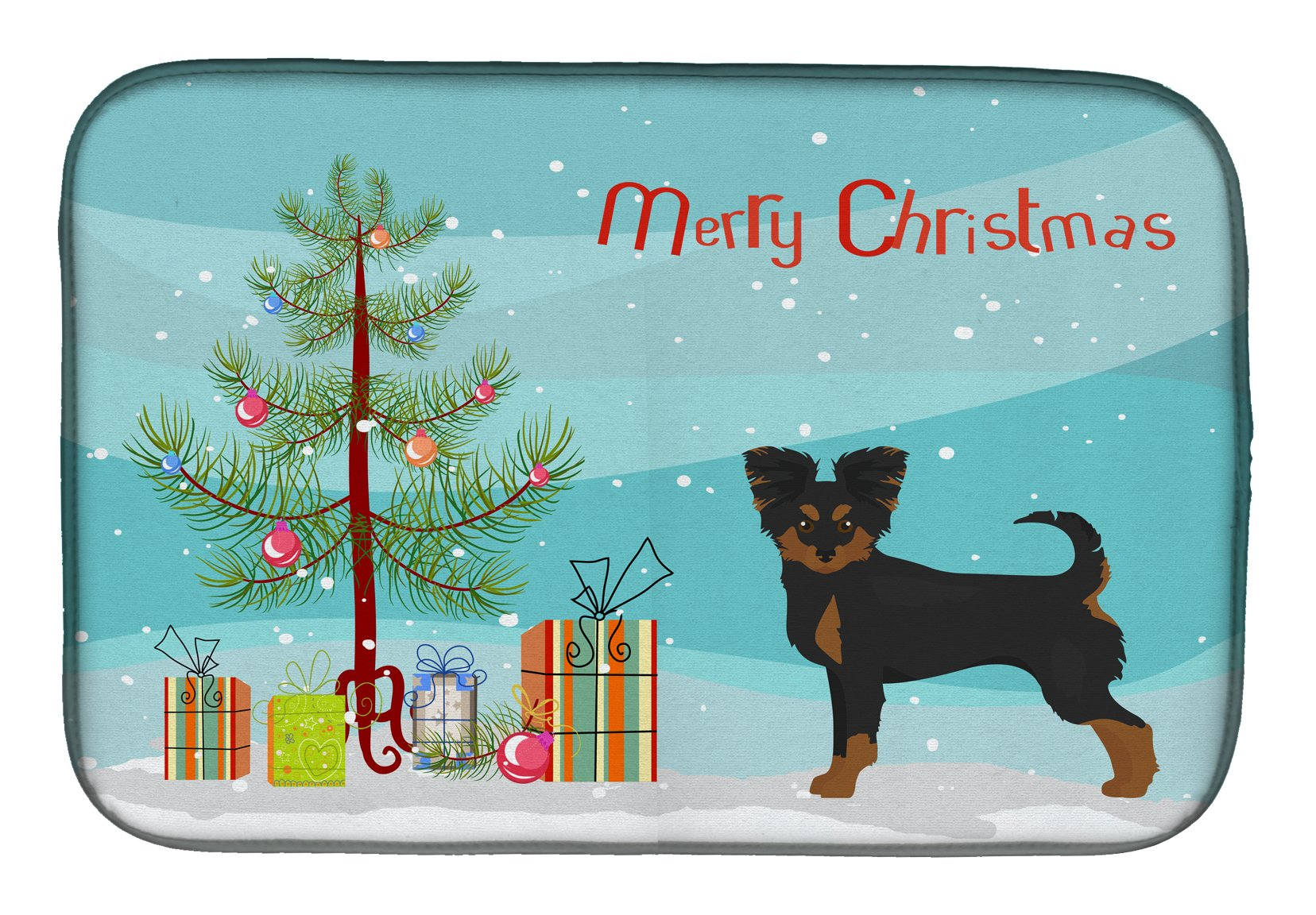 Black and Tan Chion Christmas Tree Dish Drying Mat CK3813DDM by Caroline's Treasures