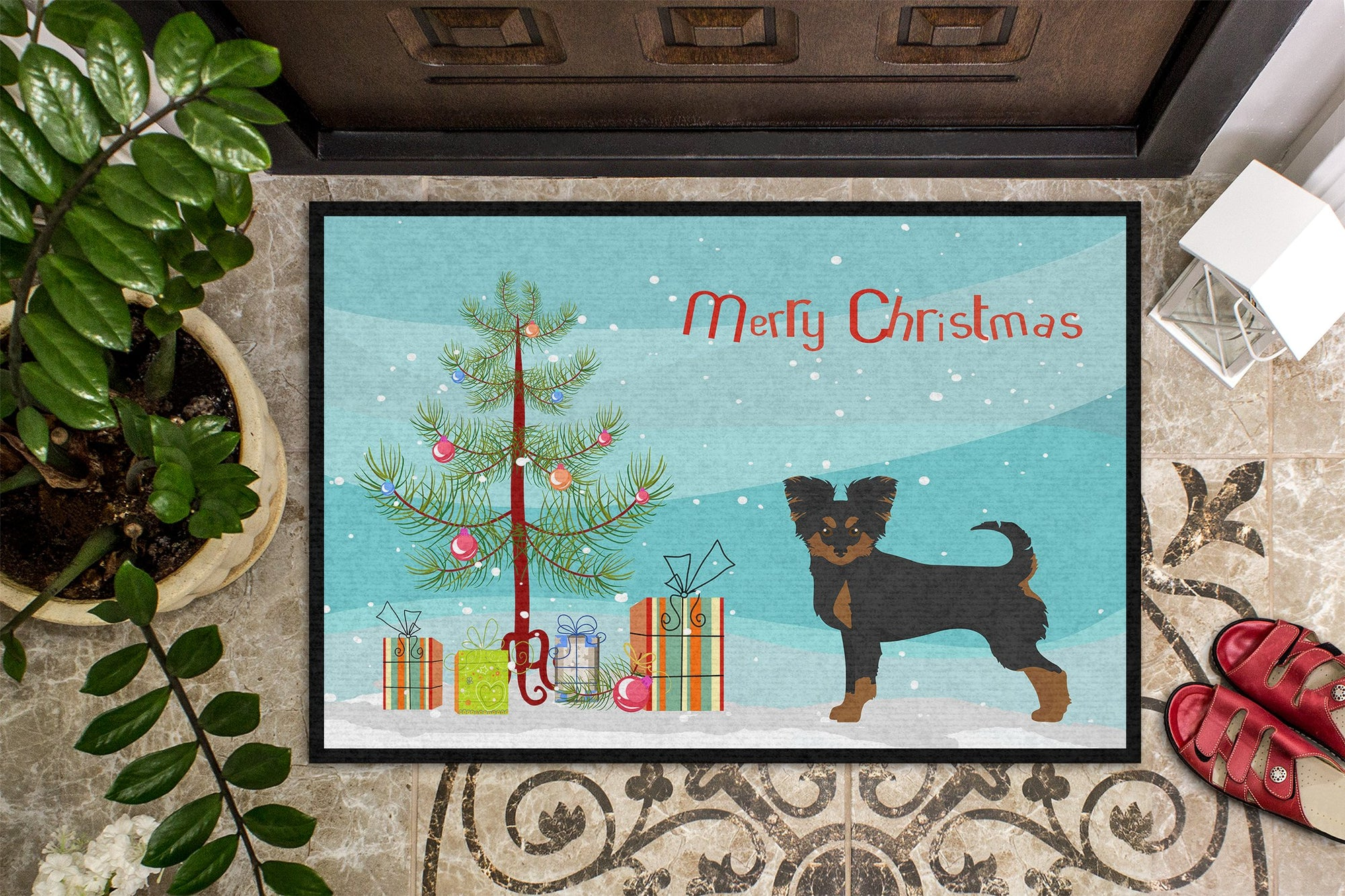 Black and Tan Chion Christmas Tree Indoor or Outdoor Mat 24x36 CK3813JMAT by Caroline's Treasures