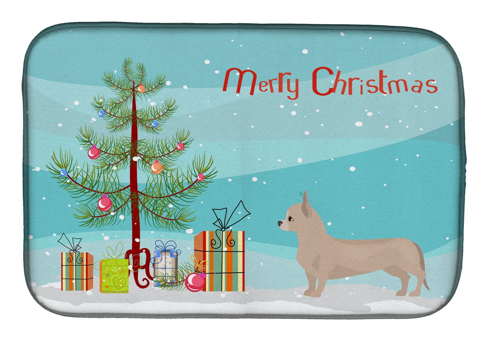 Buy this Tan Chiweenie Christmas Tree Dish Drying Mat CK3815DDM
