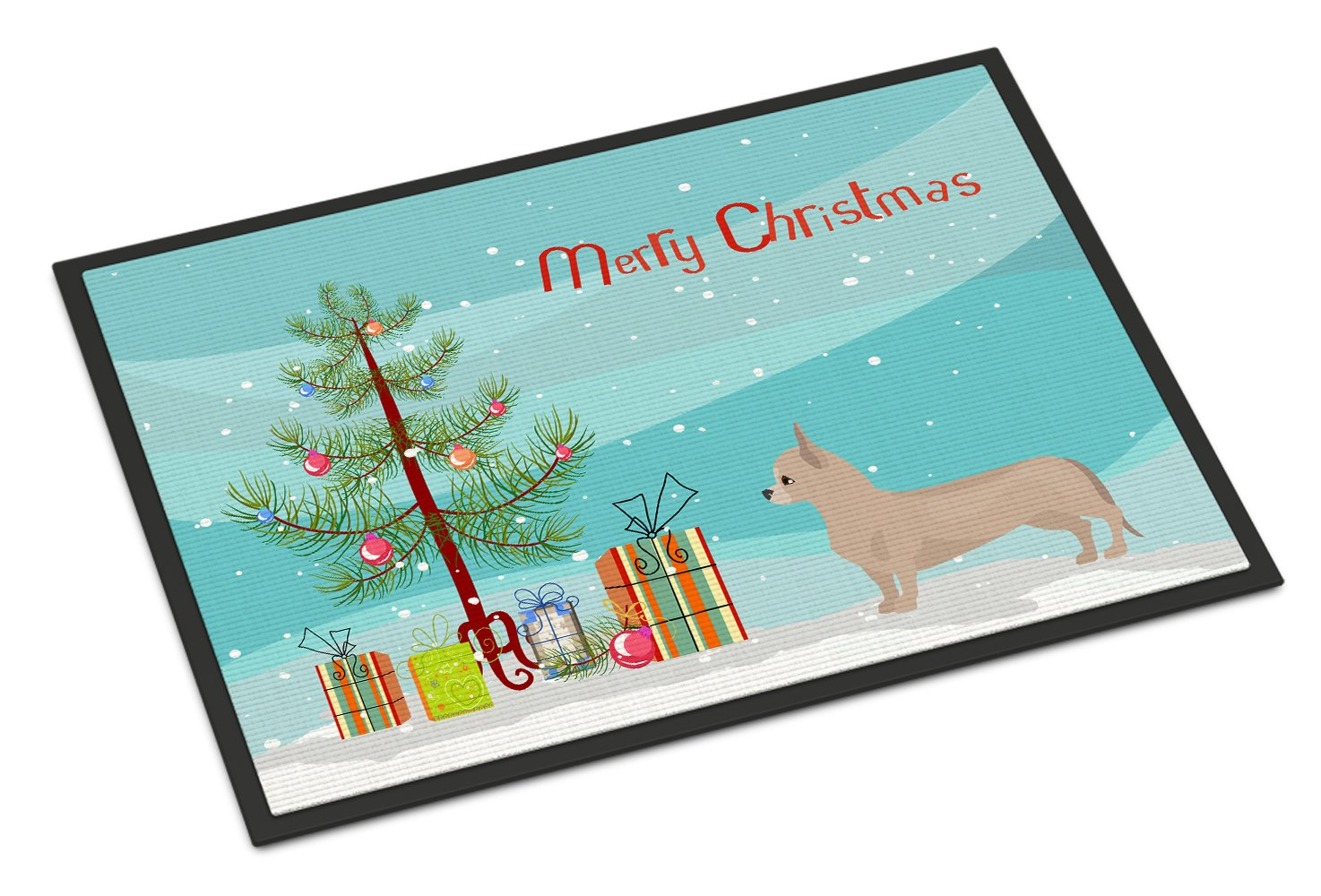 Tan Chiweenie Christmas Tree Indoor or Outdoor Mat 24x36 CK3815JMAT by Caroline's Treasures